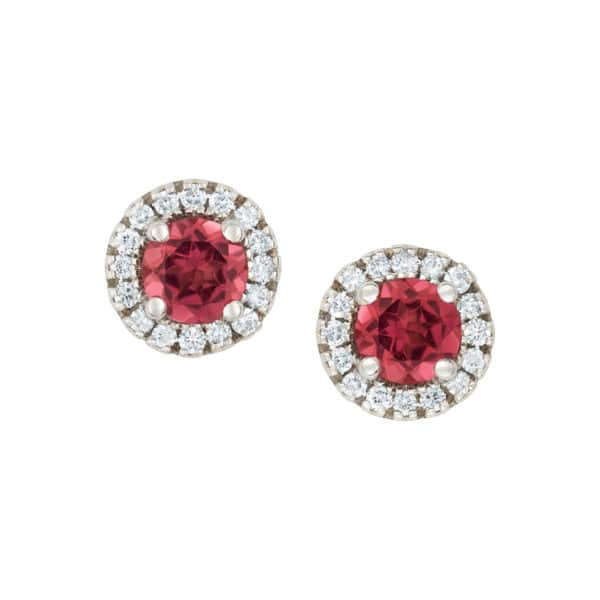 Boucles d'oreilles Berries or blanc 750/1000ème,montée de 2 Tourmaline roses taille brillant.Accompagnés de 16 diamants taille brillant. - face