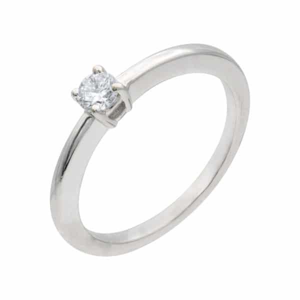 Bague Gloria solitaire en or blanc 750/1000ème, montée d'un Diamant taille brillant.