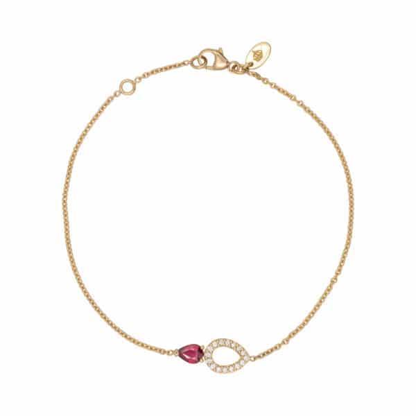 Le bracelet Angélys est en or jaune 750/1000ème, monté d'un Rubis taille poire accompagné d'un pavage Diamants en forme de poire.