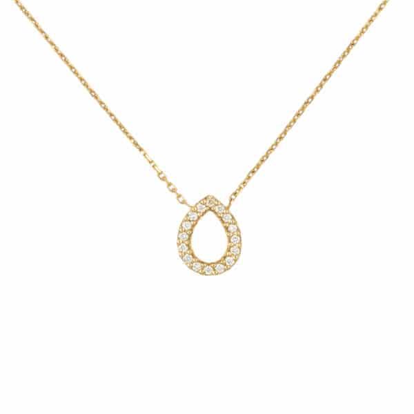 Chaine Angélyse en or jaune 750/1000ème avec un pavage Diamants en forme de poire.