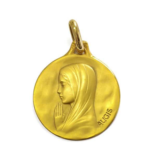 Vierge Priante médaille en or 750/1000e. Diametre 16.0mm. Poids 1.8grs - face